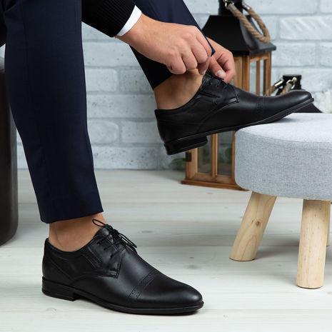 Imagine Pantofi eleganți bărbați din piele naturală 350 Negru
