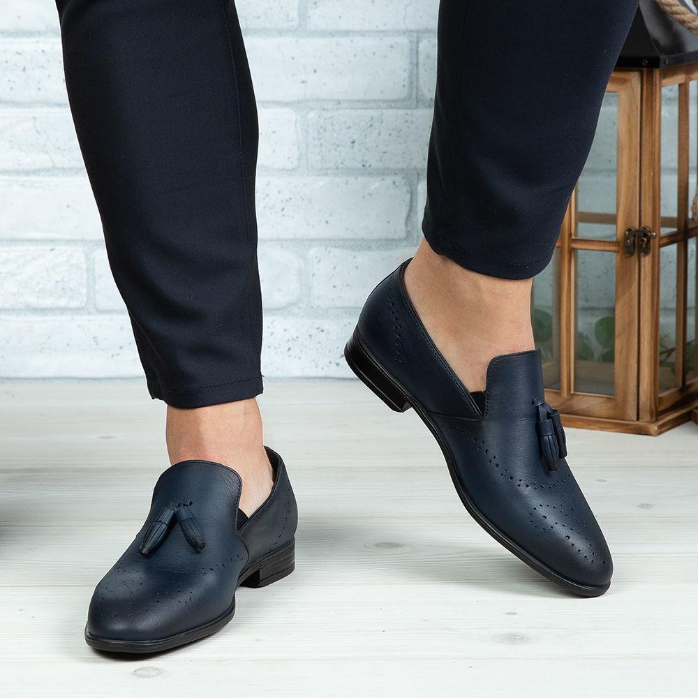 Imagine Pantofi eleganți bărbați din piele naturală 322 Blue