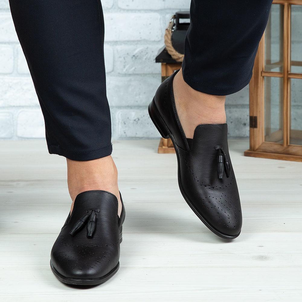 Imagine Pantofi eleganți bărbați din piele naturală 322 Negru