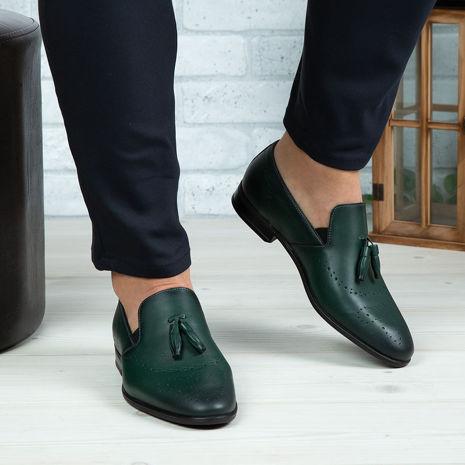 Imagine Pantofi eleganți bărbați din piele naturală 322 Verde