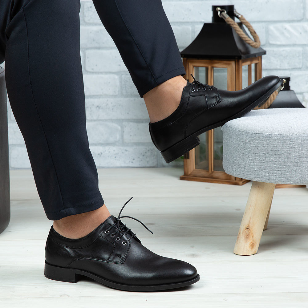 Imagine Pantofi eleganți bărbați din piele naturală 366 Negru