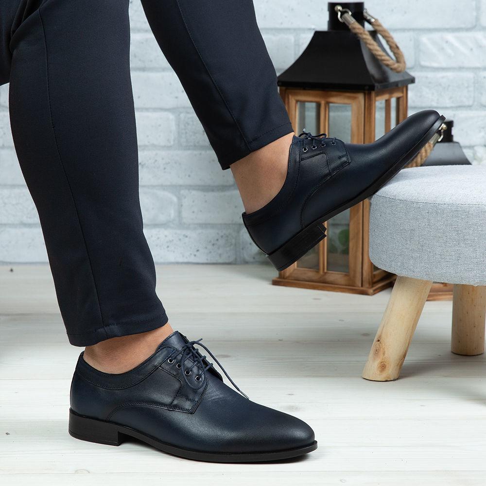 Imagine Pantofi eleganți bărbați din piele naturală 366 Blue
