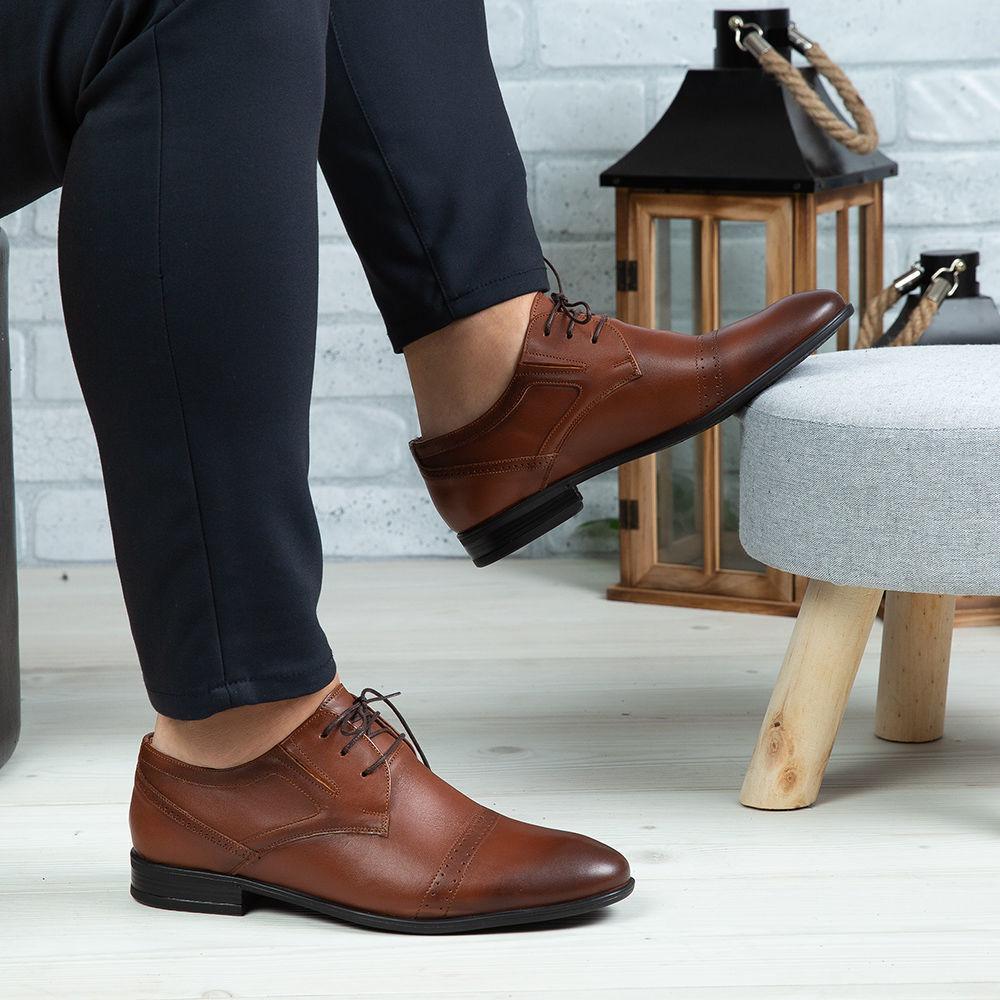 Imagine Pantofi eleganți bărbați din piele naturală 350 Maro
