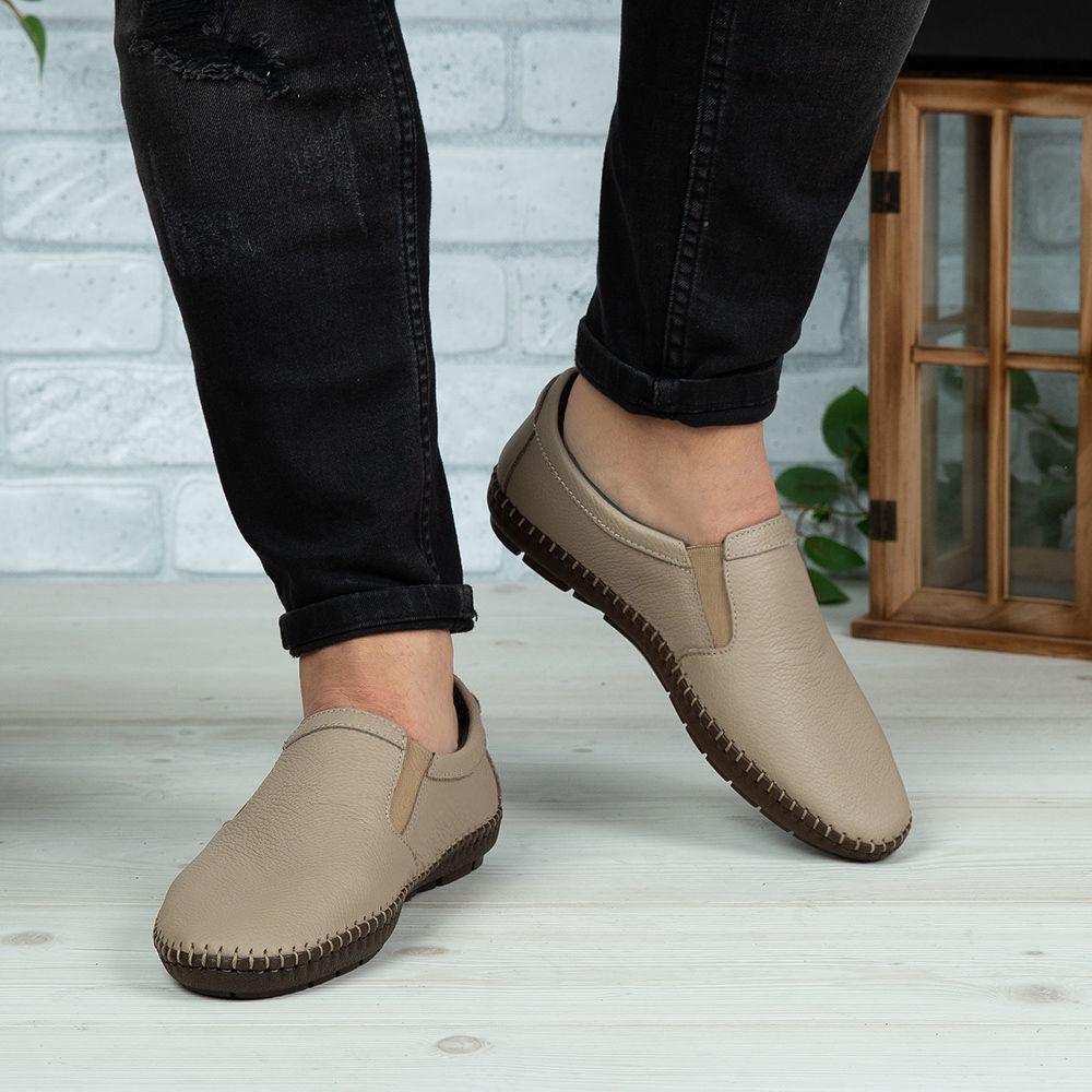 Imagine Pantofi casual bărbați piele naturală 600-S Bej