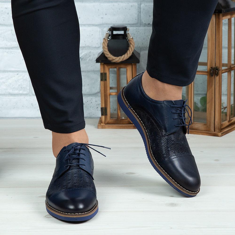 Imagine Pantofi casual bărbați piele naturală 380 Blue