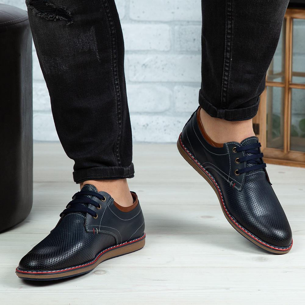 Imagine Pantofi casual bărbați piele naturală 422 Blue