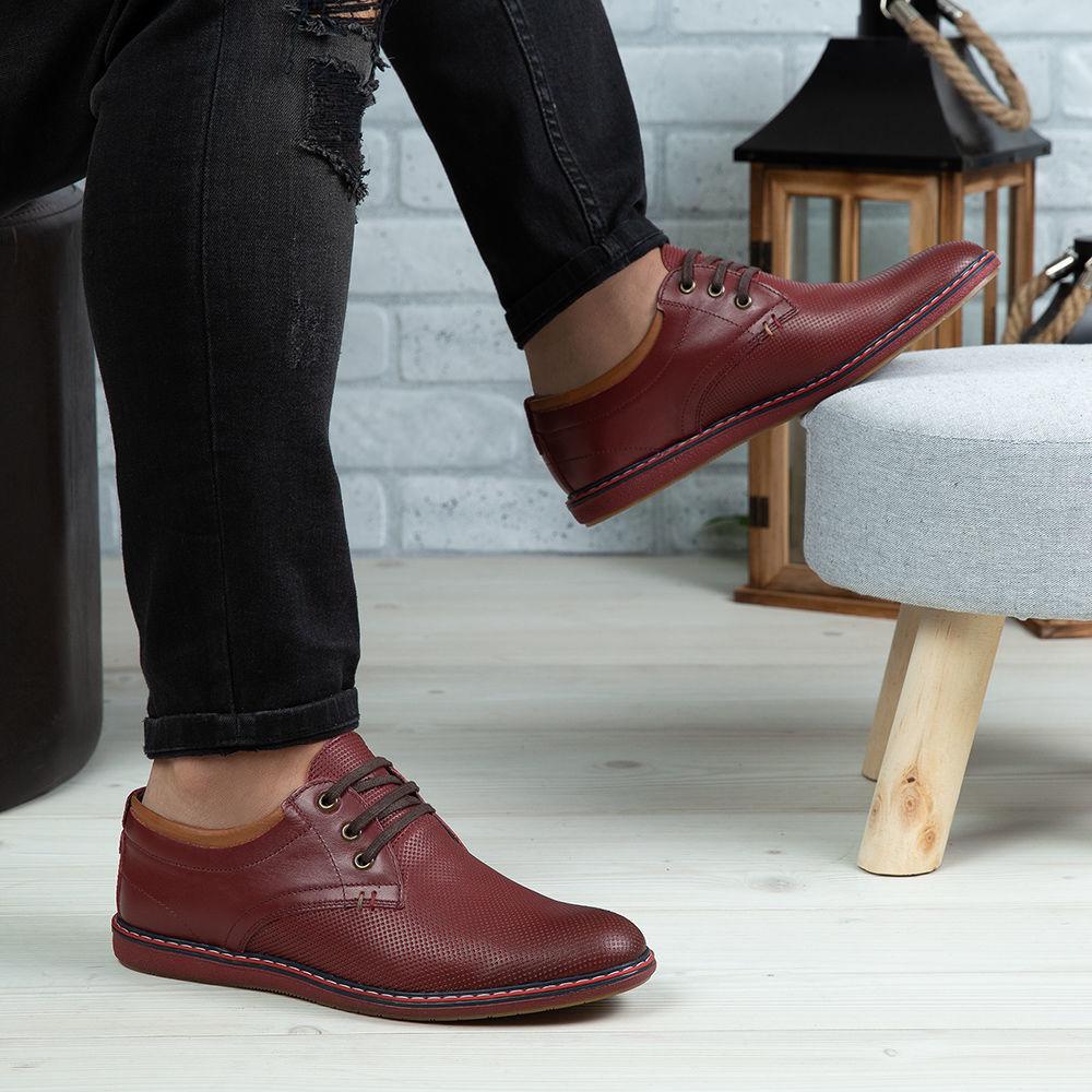 Imagine Pantofi casual bărbați piele naturală 422 Vișiniu