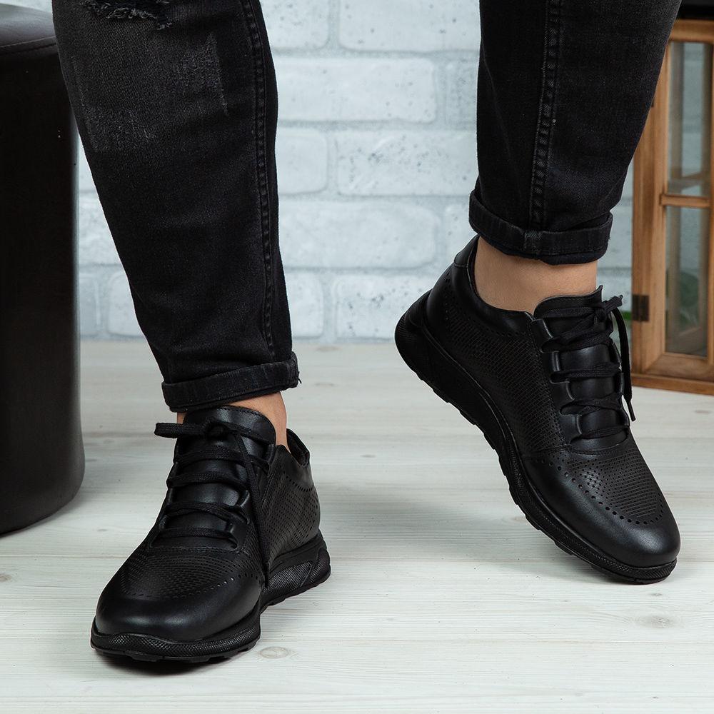 Imagine Pantofi sport bărbați piele naturală 447 Negru Box