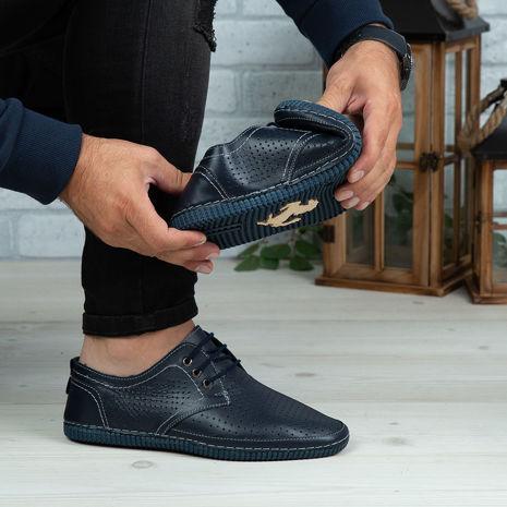 Imagine Pantofi casual bărbați piele naturală 500 Blue Box