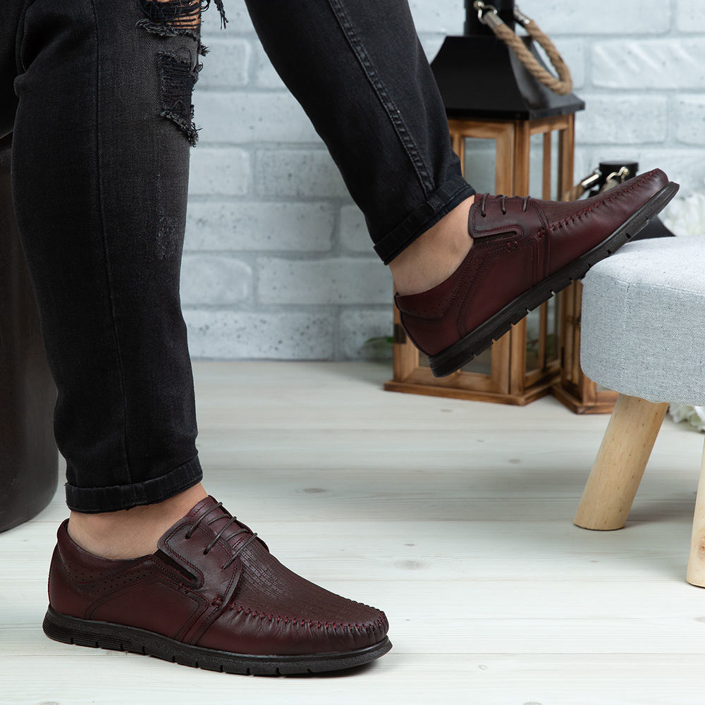 Imagine Pantofi casual bărbați piele naturală 540 Vișiniu