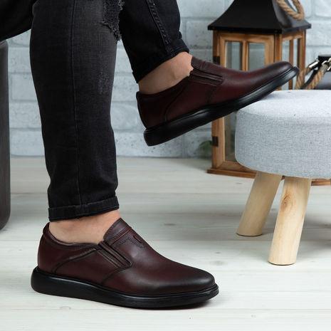 Imagine Pantofi casual bărbați piele naturală 551 Vișiniu