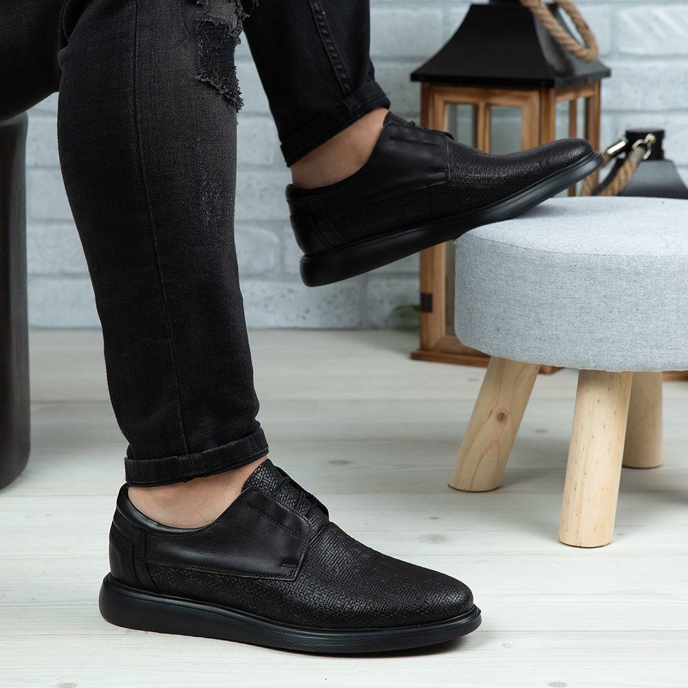 Imagine Pantofi casual bărbați piele naturală 558 P Negru