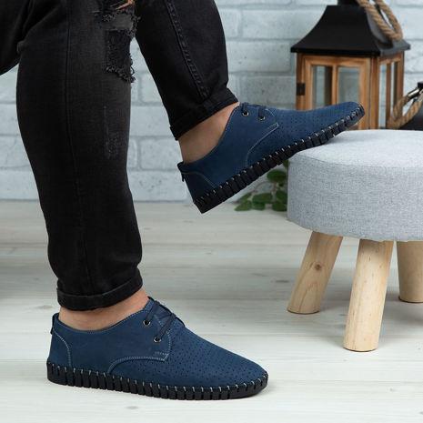 Imagine Pantofi casual bărbați piele naturală 560 Blue