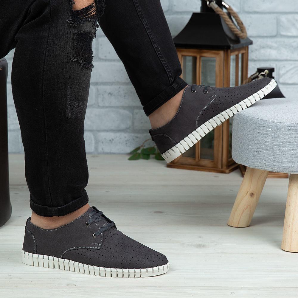 Imagine Pantofi casual bărbați piele naturală 560 Gri