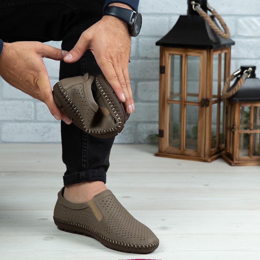 Imagine Pantofi casual bărbați piele naturală 600 Bej INCHIS
