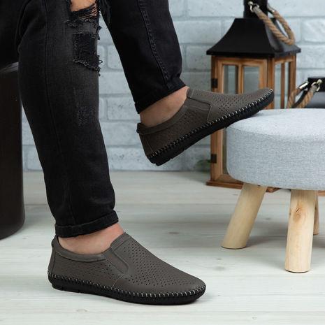Imagine Pantofi casual bărbați piele naturală 600 Gri