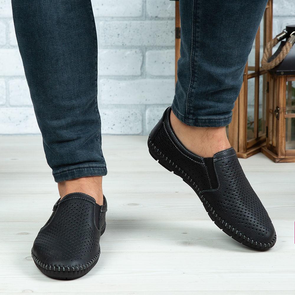 Imagine Pantofi casual bărbați piele naturală 600 Negru 0141