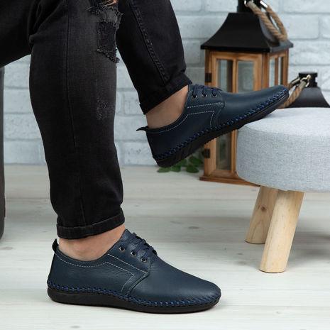 Imagine Pantofi casual bărbați piele naturală 650-S Blue