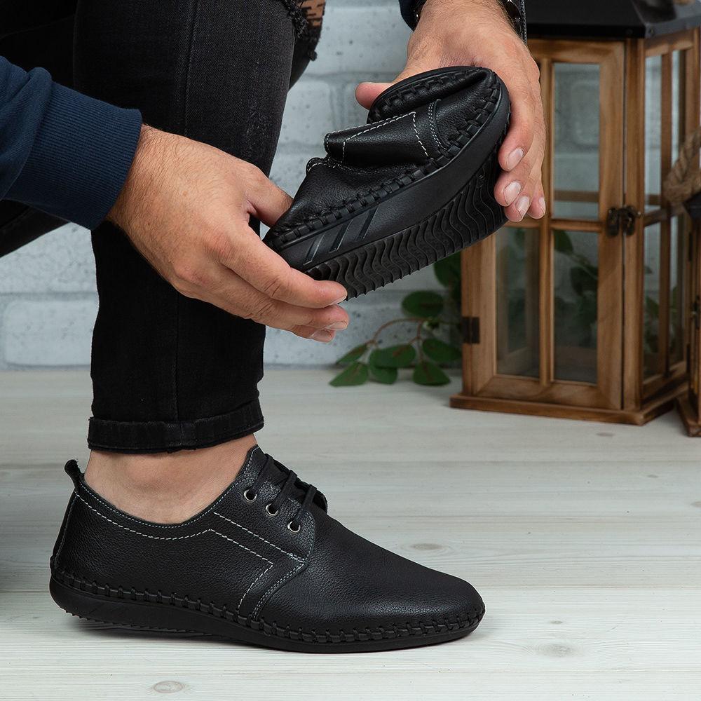 Imagine Pantofi casual bărbați piele naturală 650-S Negru