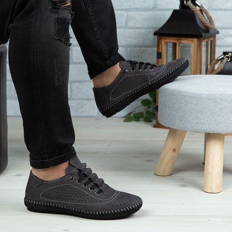 Imagine Pantofi casual bărbați piele naturală 670 Gri NUBUK