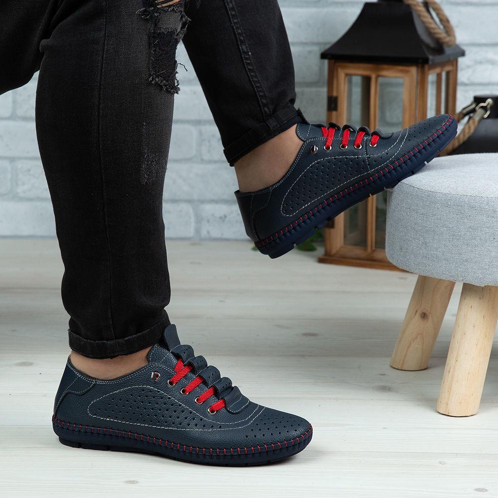 Imagine Pantofi casual bărbați piele naturală 670 Blue R BLR