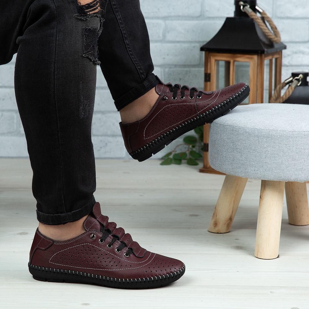 Imagine Pantofi casual bărbați piele naturală 670 Vișiniu
