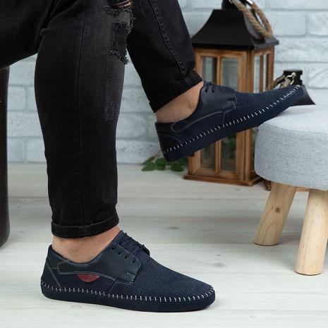 Imagine Pantofi casual bărbați piele naturală 680 Blue