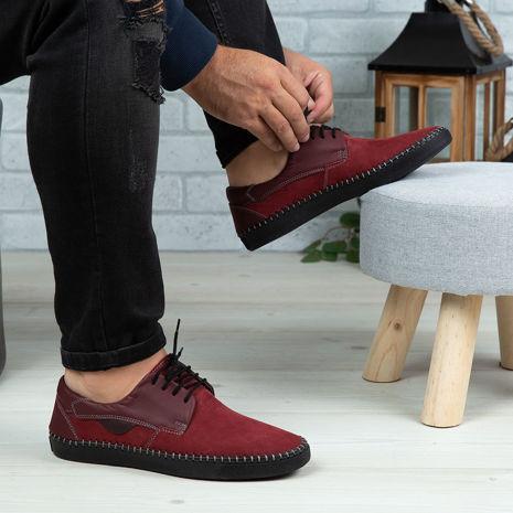 Imagine Pantofi casual bărbați piele naturală 680 S Vișiniu