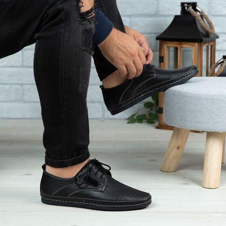 Imagine Pantofi casual bărbați piele naturală 690 Negru