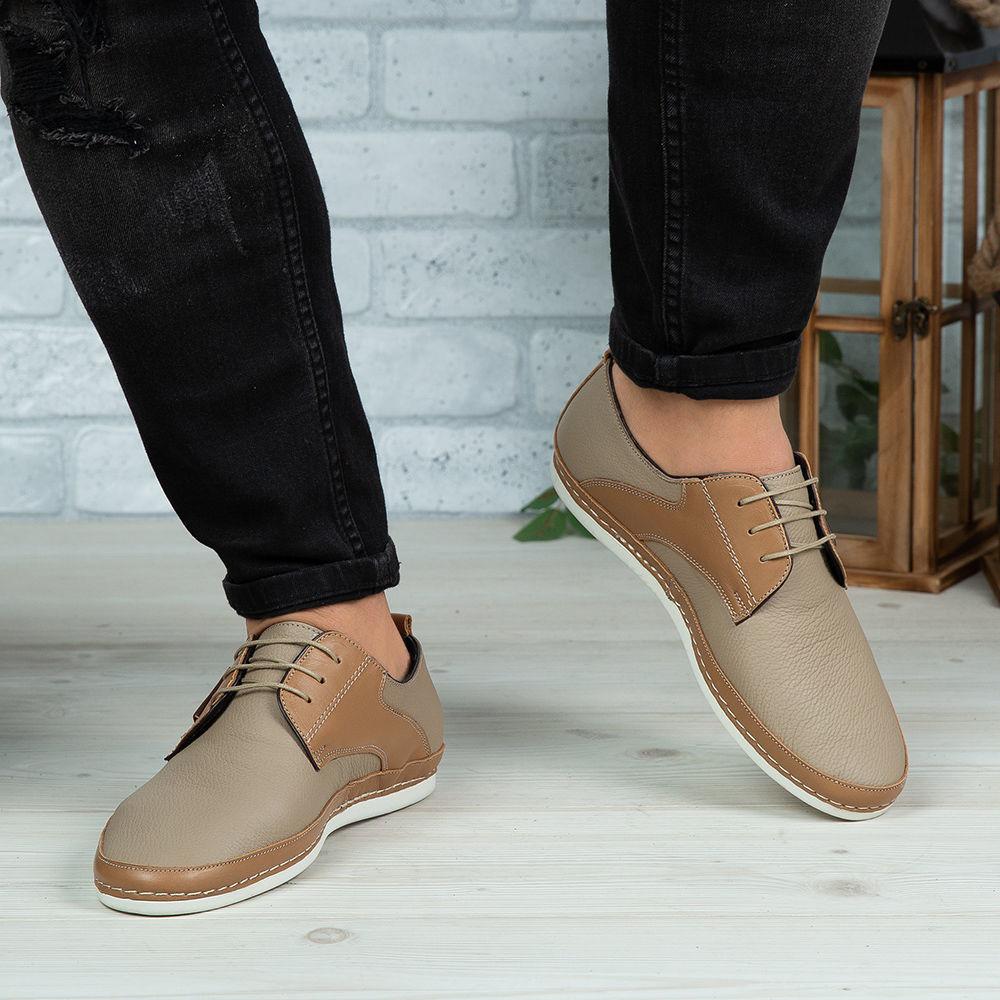 Imagine Pantofi casual bărbați piele naturală 690 S Bej