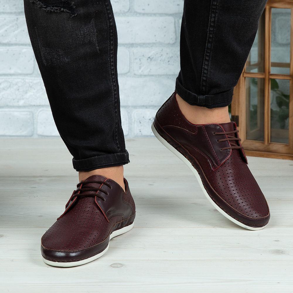 Imagine Pantofi casual bărbați piele naturală 690 Vișiniu