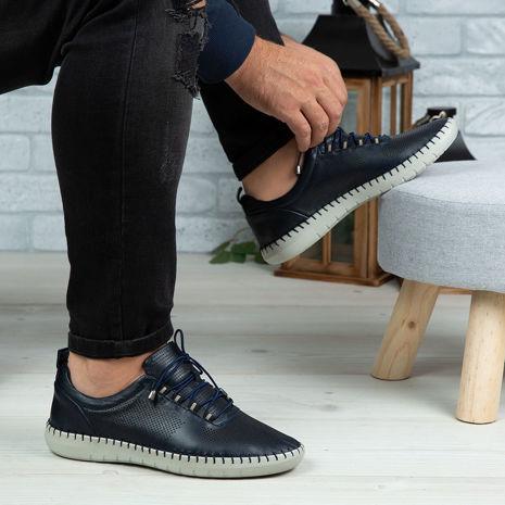 Imagine Pantofi casual bărbați piele naturală 691 Blue