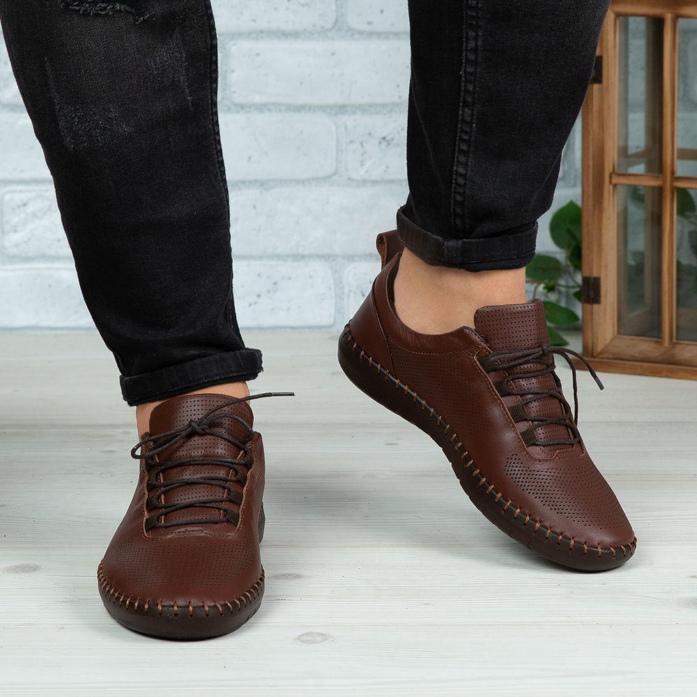 Imagine Pantofi casual bărbați piele naturală 691 Maro
