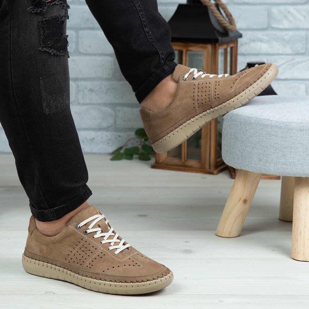 Imagine Pantofi casual barbati piele naturala 693 Bej - Alb