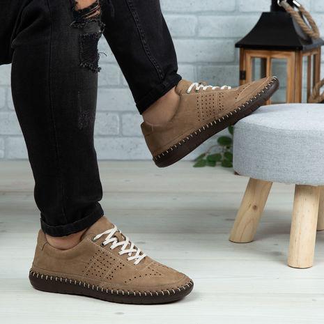 Imagine Pantofi casual bărbați piele naturală 693 Bej-Maro