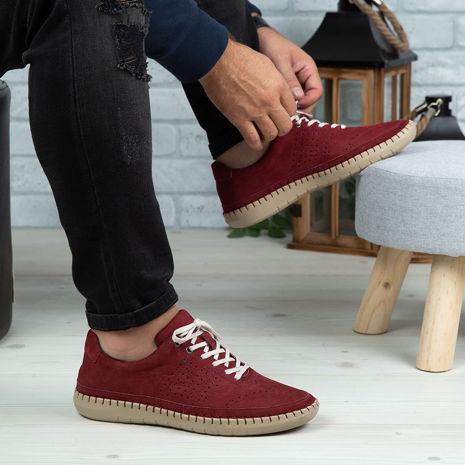 Imagine Pantofi casual bărbați piele naturală 693 Vișiniu