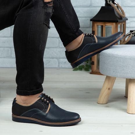 Imagine Pantofi casual bărbați piele naturală C60 Blue
