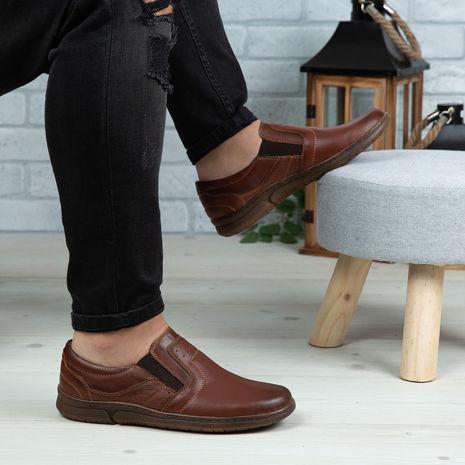 Imagine Pantofi casual bărbați piele naturală C64 E Maro