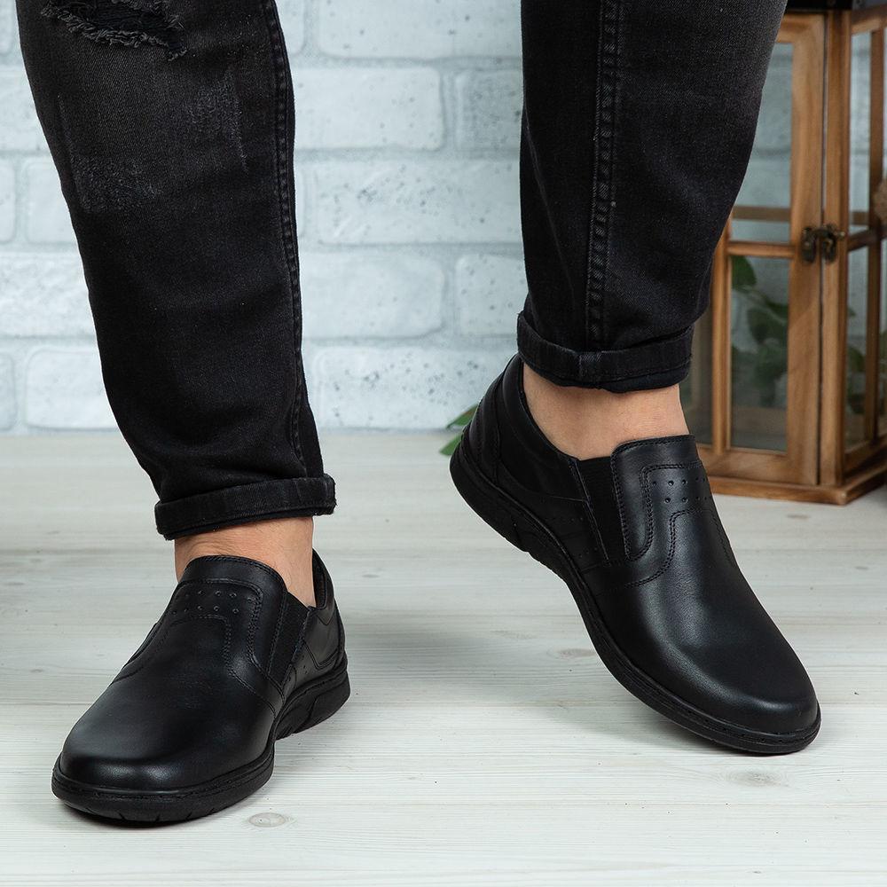 Imagine Pantofi casual bărbați piele naturală C64 E Negru