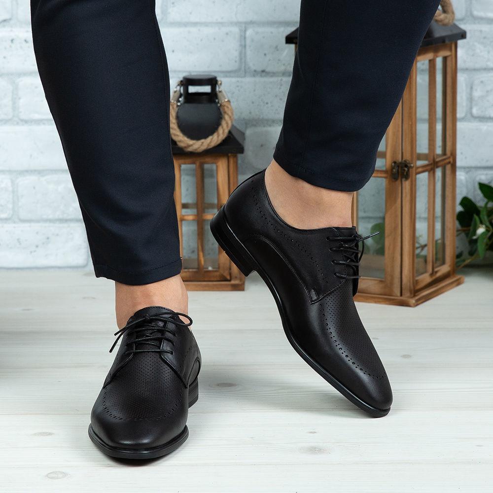 Imagine Pantofi eleganți bărbați din piele naturală 391 Negru