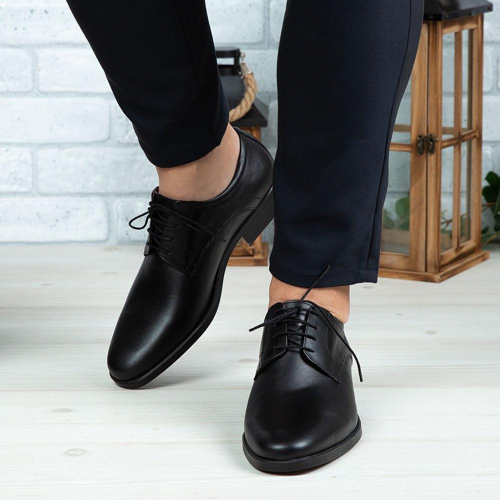 Imagine Pantofi eleganți bărbați din piele naturală 308 Negru