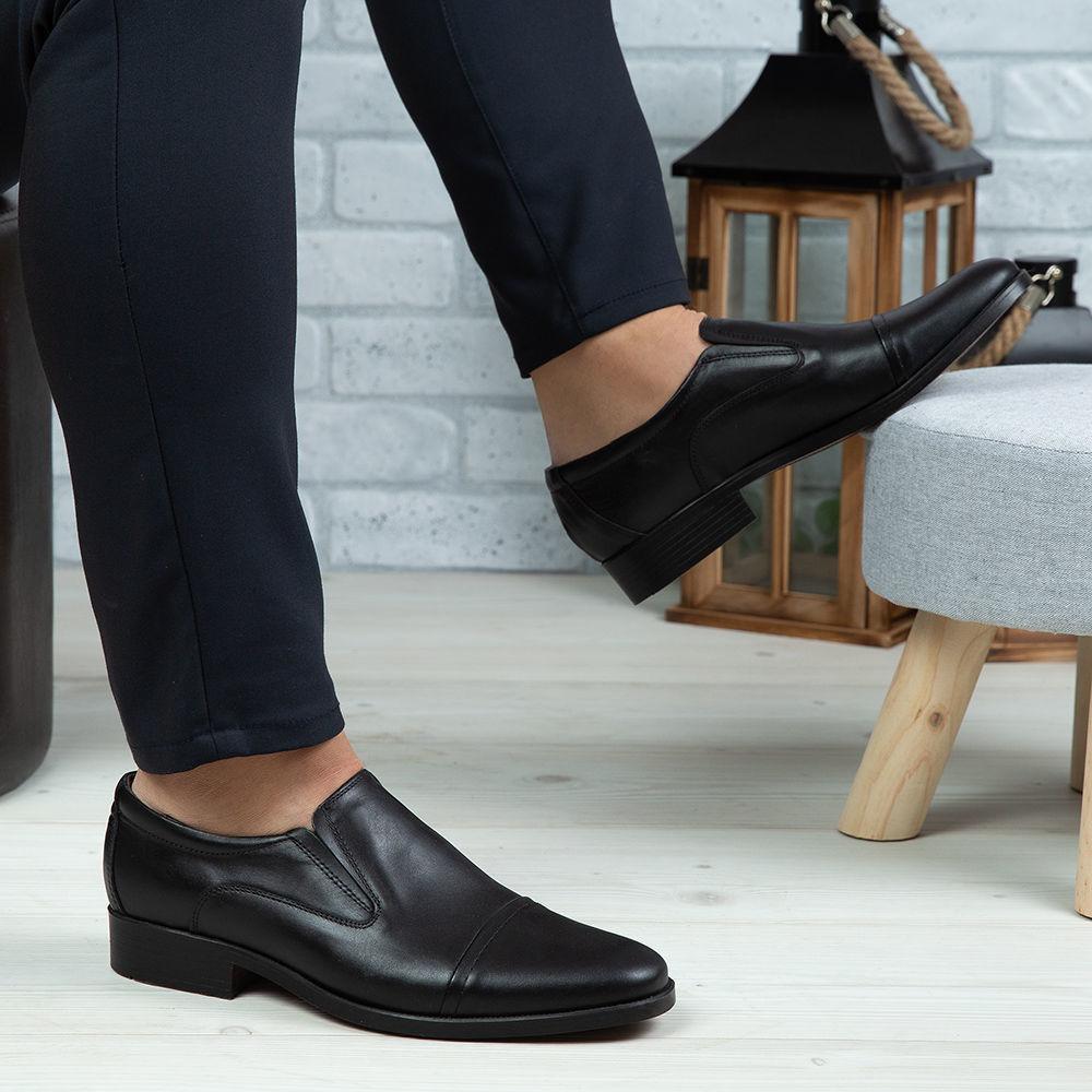 Imagine Pantofi eleganți bărbați din piele naturală 301 Negru