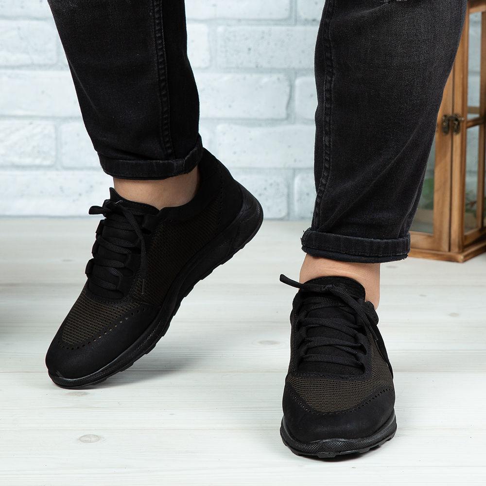 Imagine Pantofi sport bărbați piele naturală 447 Negru bufo