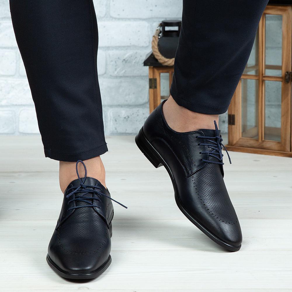 Imagine Pantofi eleganți bărbați din piele naturală 391 Blue