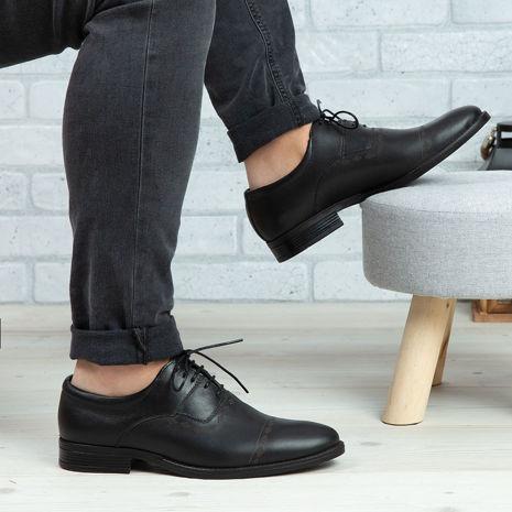 Imagine Pantofi casual bărbați piele naturală C65 Negru