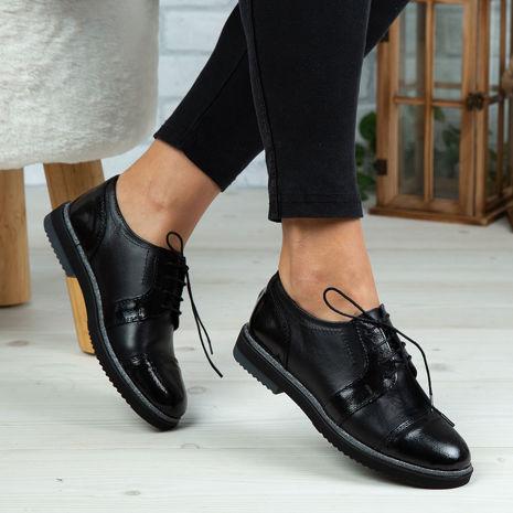 Imagine Pantofi damă piele naturală 132-1 NEGRU