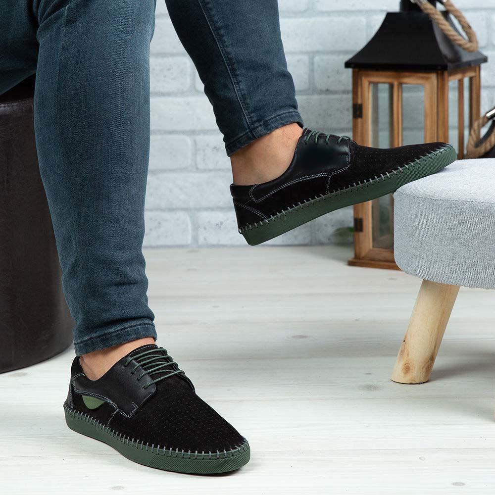 Imagine Pantofi casual bărbați piele naturală 680 Negru-Verde