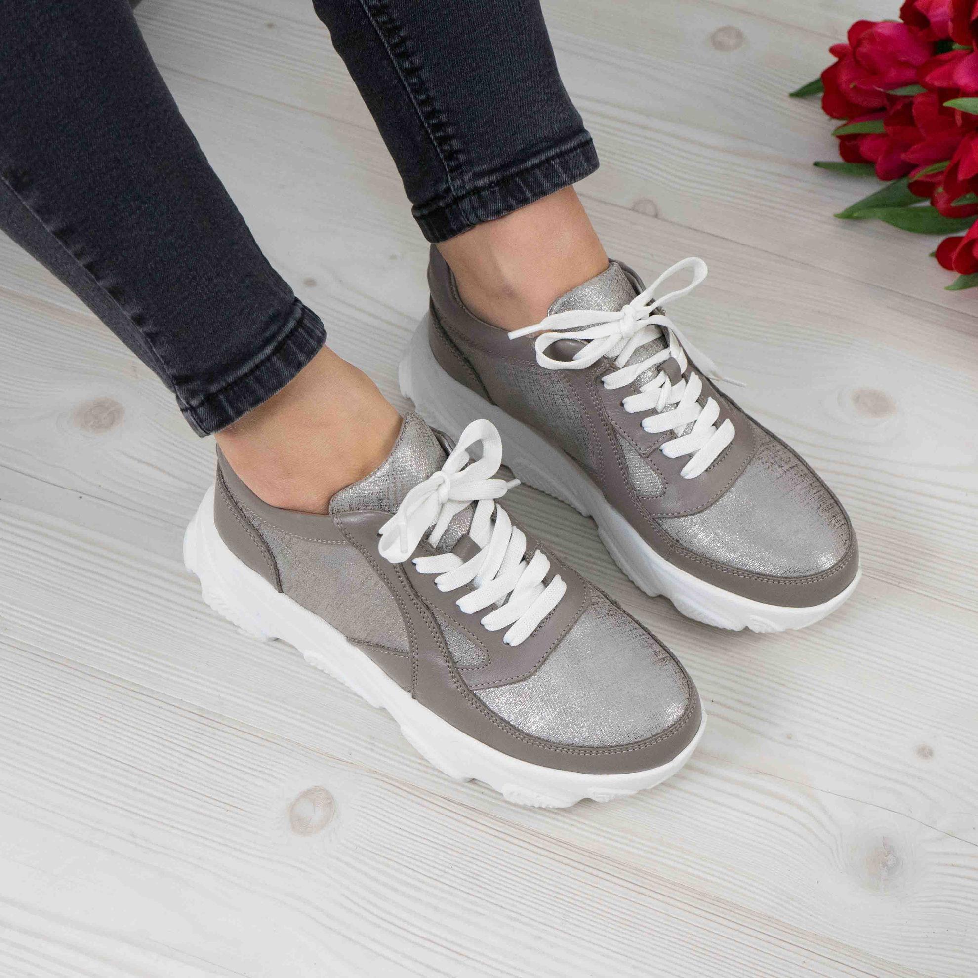 Imagine Pantofi damă piele naturală 122 GRI