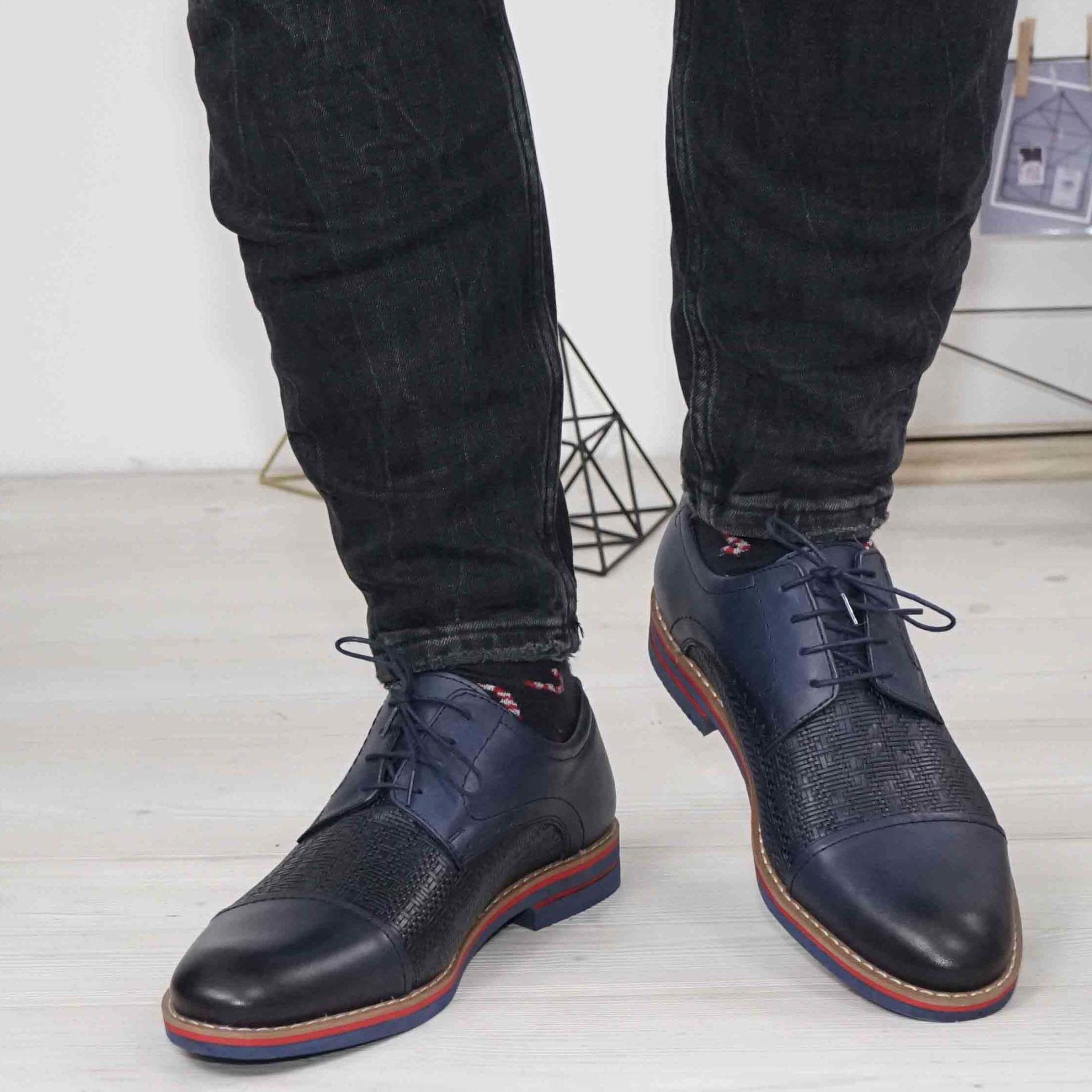 Imagine Pantofi casual bărbați din piele naturală 380 blue TR