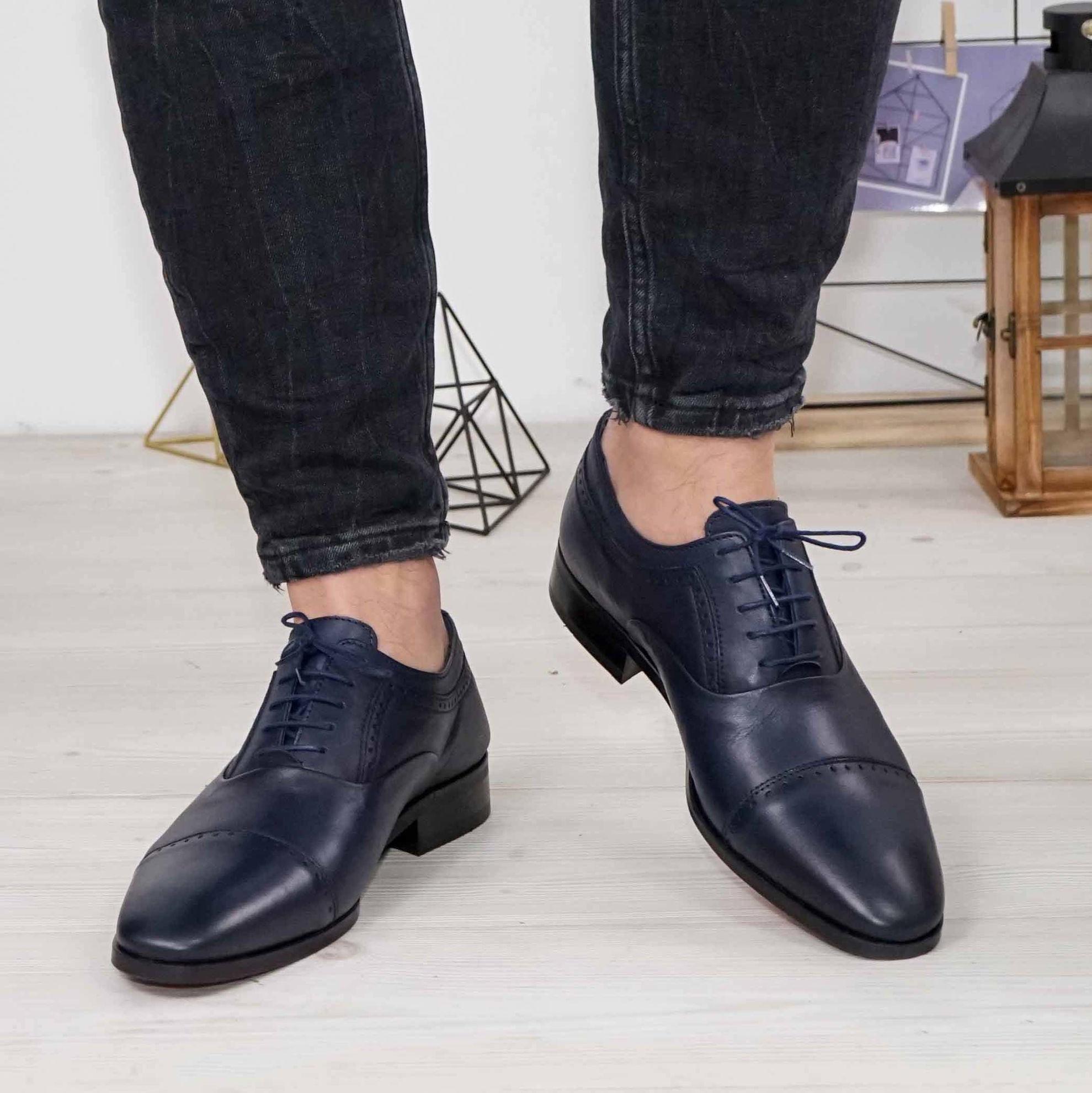 Imagine Pantofi eleganți bărbați din piele naturală 394  BLUE